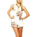 Floral Print Round Neck Cutout Front Sleeveless Rompers