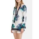 Ink Floral Print V-Neck Long Sleeve Shirt