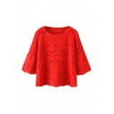 Plain Round Neck 3/4 Length Sleeve Hollow Knit Sweater
