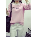 Round Neck Letter Print Lace Hem Long Sleeve Sweatshirt