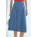 A-Line Blue Midi Button Denim Skirt
