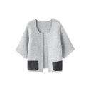 3/4 Length Sleeve PU Panel Round Neck Open Front Cardigan