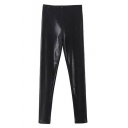 Black High Waist PU Pencil Pants