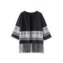 Geometric Pattern 3/4 Sleeve Tassel Hem Knit Kimono