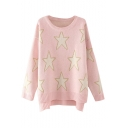 Star Pattern Long Sleeve High Low Sweater