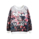 Floral Print Raglan Sleeve Long Sleeve Sweatshirt