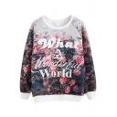 Floral Print Raglan Sleeve Long Sleeve Sweatshirt