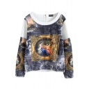 White Boat Neck Zipper Back Oil Painting Sweatshirt