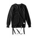 Plain Long Sleeve Streamer Hem Sweatshirt