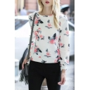 Round Neck Long Sleeve Floral Pullover Sweatshirt