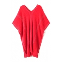 V-Neck Short Sleeve Plain Batwing Tassel Sweater