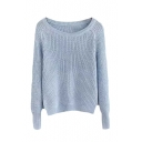 Plain Round Neck Raglan Sleeve Knit Sweater
