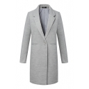 Lapel Gray Long Sleeve Single Button Longline Blazer