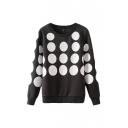Black Polka Dot Round Neck Long Sleeve Sweatshirt
