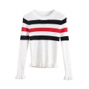 Stripe Round Neck Long Sleeve Ruffle Hem Sweater