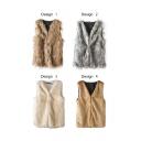 Faux Fur Fabric V-Neck Hidden Buttons Vest