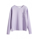 Long Sleeve Round Neck Plain Pocket Detail Sweatshirt