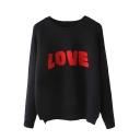 Letter Raglan Sleeve Round Neck Sweater
