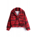 Single Breasted Lapel Long Sleeve Plaid Double Pockets Coat