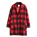 Lapel Plaid Long Sleeve Single Breasted Double Pockets Coat