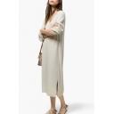 Scoop Neck Long Sleeve Loose Plain Midi Dress
