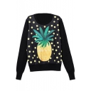 Pineapple Print Round Neck Long Sleeve Sweatshirt