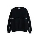Stripe Trims Round Neck Long Sleeve Plain Sweatshirt