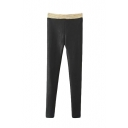 Golden Elastic Waist Black PU Skinny Pants