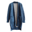 Plain Open Front Double Pocket High Low Long Sleeve Cardigan