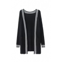 V-Neck Open Front Long Sleeve Stripe Hem Double Pocket Cardigan