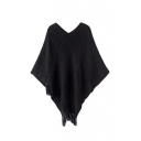 V-Neck Tassel Hem Wave Textured Cape
