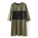Tassel Ring Front Round Neck 3/4 Length Sleeve Shift Dress