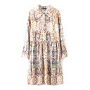 Lapel Tribal Floral Print Single Breasted Long Sleeve Smock Dress