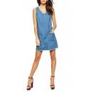 V-Neck Light Blue Sleeveless Raw Hem Double Pocket Shift Denim Dress