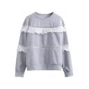 Round Neck Ruffle Hem Long Sleeve Sweatshirt