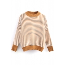 Long Sleeve Stripe Round Neck Knit Sweater