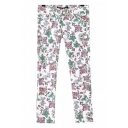 Floral Print Zipper Up Strait Leg Pants