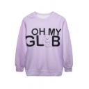 Purple Long Sleeve Round Neck Letter Print Sweatshirt