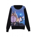 Pullover Cartoon Print Round Neck Long Sleeve Sweatshirt