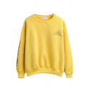 Pullover Round Neck Long Sleeve Letter Print Sweatshirt