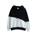Hooded Color Block Long Sleeve Pullover Sweatshirt