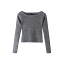 Boat Neck Plain Long Sleeve Crop Knit Sweater