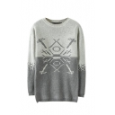 Jacquard Round Neck Long Sleeve Pullover Sweater