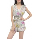 Floral Print V-Neck Sleeveless Chiffon Tie Waist Rompers