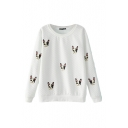 Little Dog Head Embroidery Long Sleeve Round Neck Sweatshirt