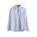 Plain Lapel Long Sleeve Single Pocket Single Breasted Shirt