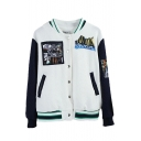 Cartoon Applique Stand Collar Single Breasted Long Sleeve Bomber Jacket