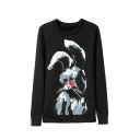 Black Rabbit Print Round Neck Long Sleeve Sweatshirt