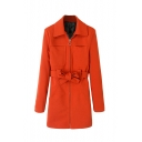 Orange Lapel Zipper Tie Waist Double Pocket Coat