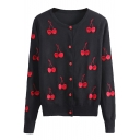 Cherry Print Long Sleeve Single Breasted Cardigan